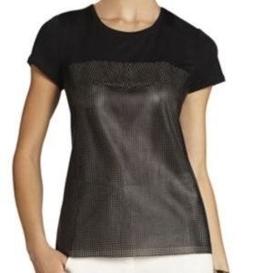 "BCBG ""Hudson Leather"" Perforated Mesh Top sz S"